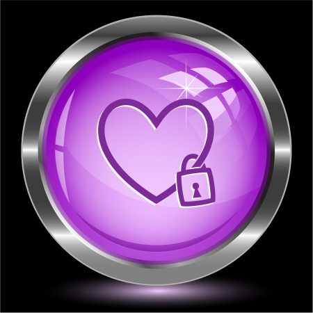 Closed heart. Internet button. Vector illustration. illustration