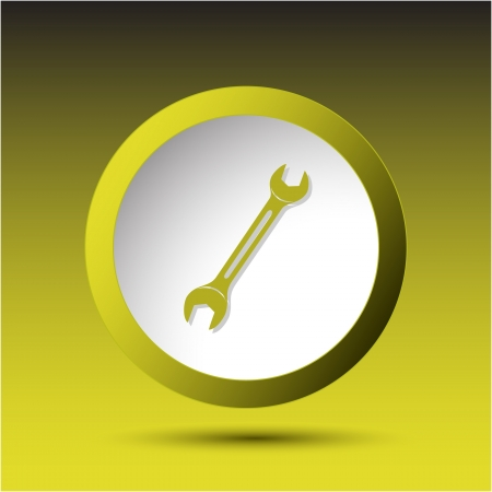 Spanner. Plastic button. Vector illustration. Stock Illustration - 15450691