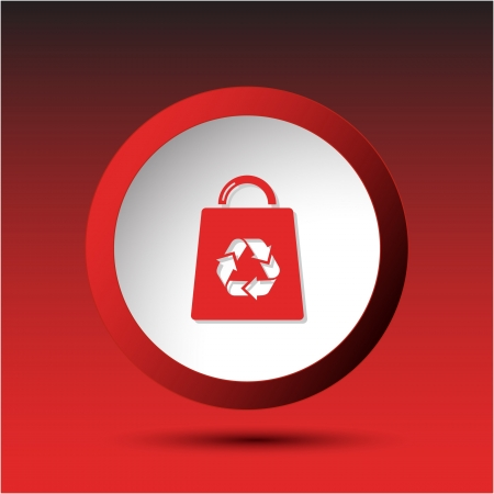 Bag with recycle symbol. Plastic button. Vector illustration. Stock Illustration - 15450679