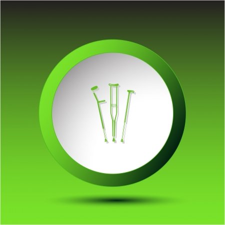 Crutches. Plastic button. Vector illustration. Stock Illustration - 15450694