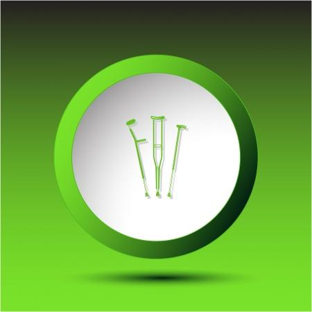 crutches: Crutches. Plastic button. Vector illustration.