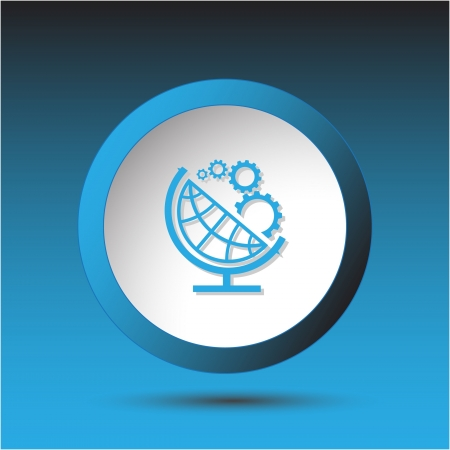 Globe and gears. Plastic button. Vector illustration. Stock Illustration - 15450696