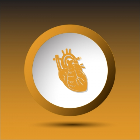 Heart. Plastic button. Vector illustration. illustration