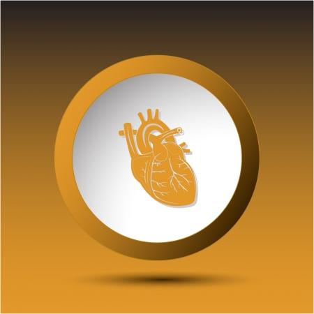 Heart. Plastic button. Vector illustration. Stock Illustration - 15450695