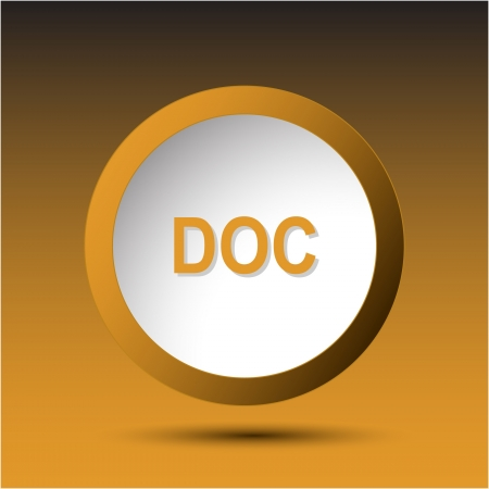 extention: Doc. Plastic button. Vector illustration. Stock Photo
