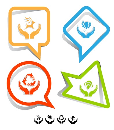 Animal icon set. Protection nature, deer in hands, bird in hands, bee in hands.  Paper stickers. photo