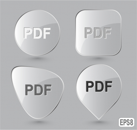 descriptor: Pdf. Glass buttons. Vector illustration.