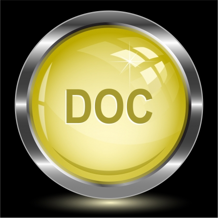descriptor: Doc. Internet button. Vector illustration.