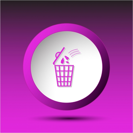 Bin. Plastic button. Vector illustration. Stock Illustration - 15536882
