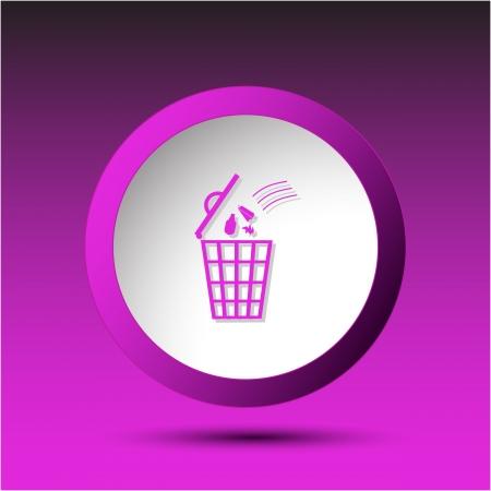 Bin. Plastic button. Vector illustration. Stock Illustration - 15536882