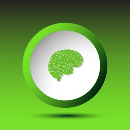 Brain. Plastic button. Vector illustration. illustration