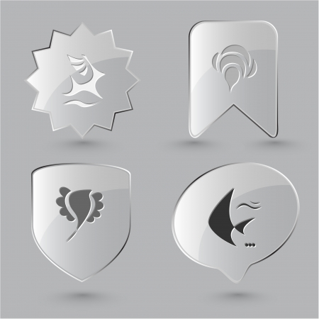 spawn: Animal icon set. Deer, bird, bee, fish.  Glass buttons.