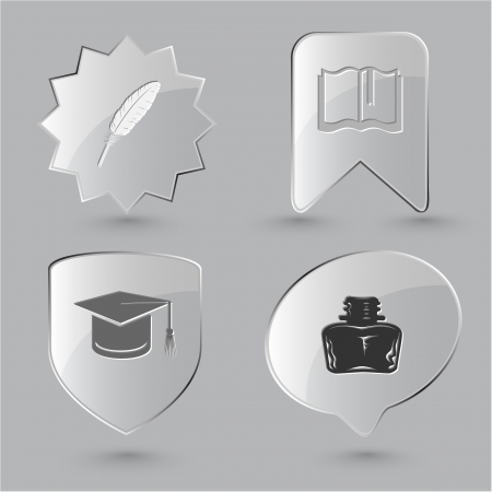 inkstand: Education icon set. Graduation cap, book, inkstand, feather. Glass buttons. Stock Photo