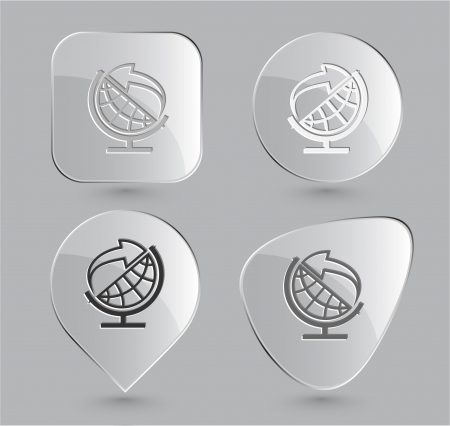 Globe and arrow. Glass buttons.  Stock Photo - 15551000