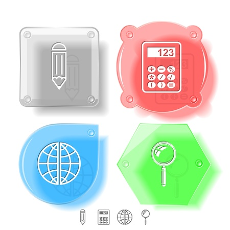 Education icon set. Magnifying glass, globe, calculator, pencil. Glass buttons. Stock Photo - 15550978