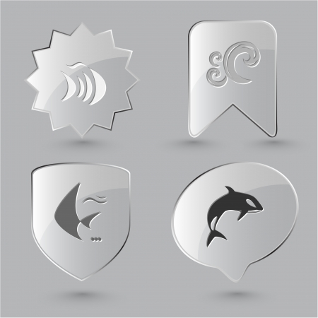 killer waves: Animal icon set. Fish, Killer whale, wave.  Glass buttons.