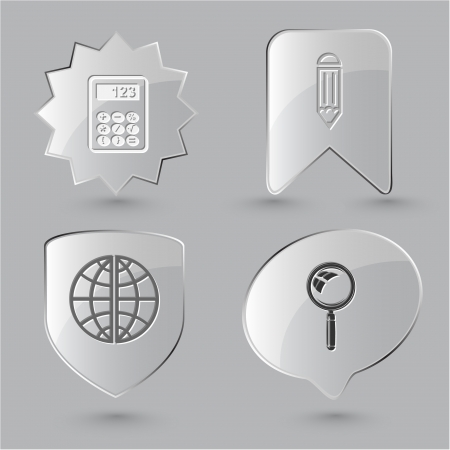 lookup: Education icon set. Magnifying glass, globe, calculator, pencil. Glass buttons.