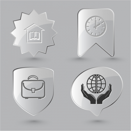 Education icon set. Protection world, clock, briefcase, library. Glass buttons. photo
