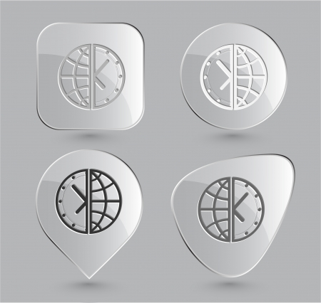 Globe and clock. Glass buttons. Vector illustration. Stock Illustration - 15568340