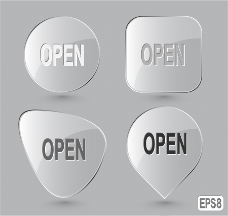 unrestricted: Open. Glass buttons. Vector illustration. Stock Photo