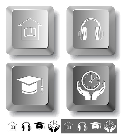 Education icon set. Headphones, clock in hands, graduation cap, library. Computer keys. Vector illustration. illustration