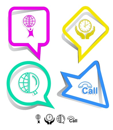 lookup: Business icon set. Little man with globe, globe and magnifying glass, clock in hands, hotline.  Paper stickers. Vector illustration. Stock Photo