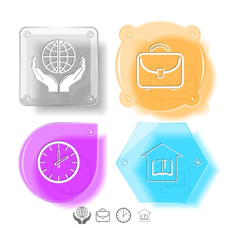 Education icon set. Protection world, clock, briefcase, library. Glass buttons. Vector illustration. Eps10. Stock Illustration - 15568329