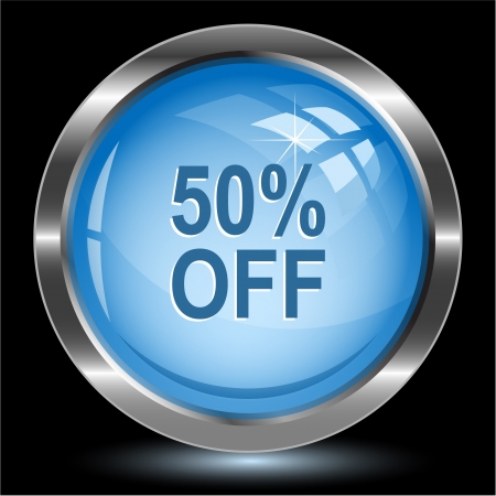 free image: 50% OFF. Internet button. Vector illustration.