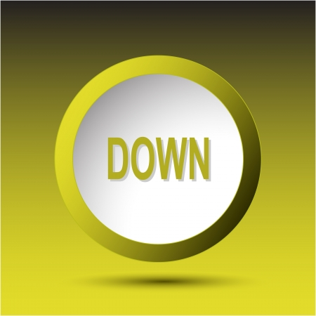 incurved: Down. Plastic button. Vector illustration. Stock Photo