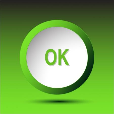 incurved: Ok. Plastic button. Vector illustration.