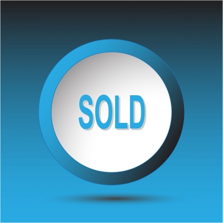 incurved: Sold. Plastic button. Vector illustration.