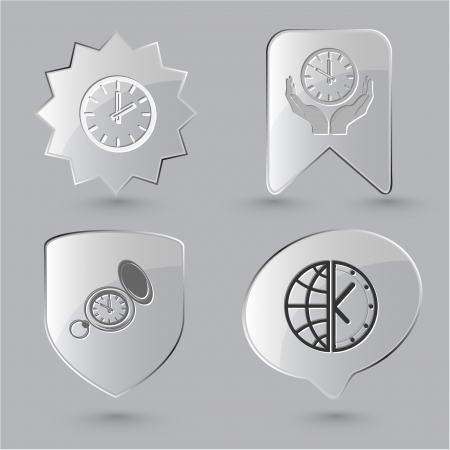 Business icon set. Clock, globe and clock, clock in hands, watch. Glass buttons. photo