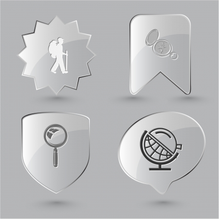 Education icon set. Magnifying glass, compass, traveller, globe and loupe. Glass buttons. Stock Photo - 15568307