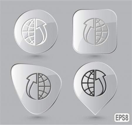 Globe and array up. Glass buttons. Stock Photo - 15590685