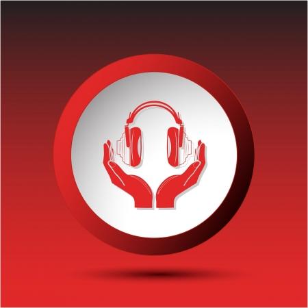 headphones in hands. Plastic button.  Stock Photo - 15590627
