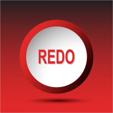 incurved: Redo. Plastic button.  Stock Photo