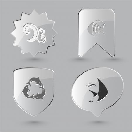 spawn: Animal icon set. Killer whale, fish, wave.