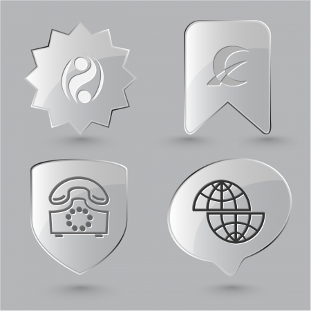 Business icon set. Shift globe, abstract monetary sign, old phone, percent sign.  Glass buttons. photo