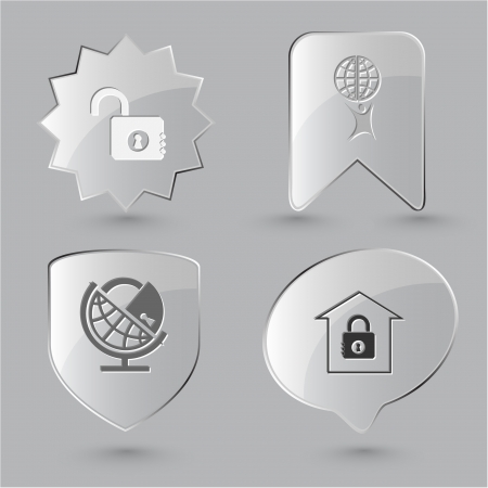 Business icon set. Little man with globe, globe and lock, bank, opened lock. Glass buttons. photo
