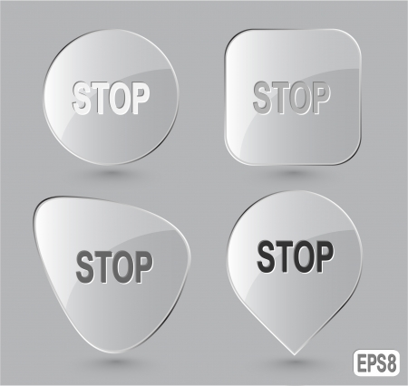 inhibition: Stop. Glass buttons Stock Photo