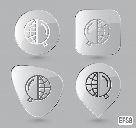 Globe and magnifying glass. Glass buttons.  Stock Photo - 15708860