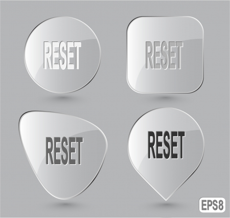 override: Reset. Glass buttons.  Stock Photo