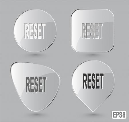 undoing: Reset. Glass buttons.  Stock Photo