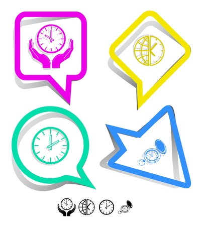 outmoded: Business icon set. Clock, globe and clock, clock in hands, watch. Paper stickers. Vector illustration.