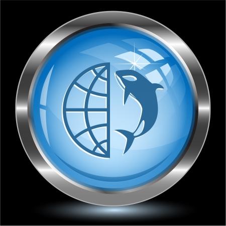 Globe and shamoo. Internet button.  photo