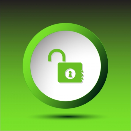 Opened lock. Plastic button. Stock Photo - 15702712