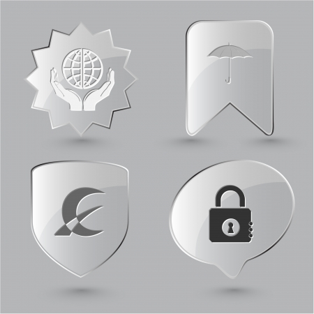 Business icon set. Protection world, closed lock, abstract monetary sign, umbrella.  Glass buttons. photo