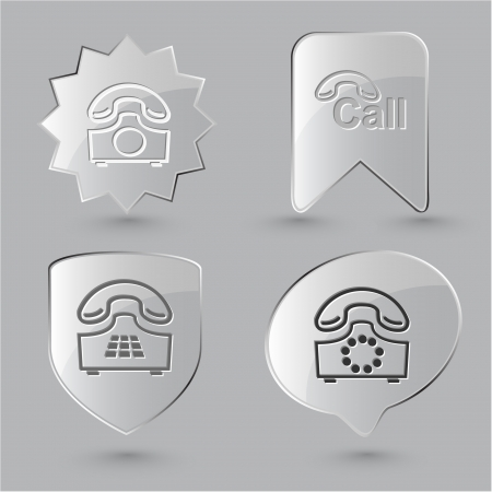 Business icon set. Hotline, old phone, push-button telephone. Glass buttons. photo
