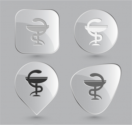 Pharma symbol  Glass buttons photo