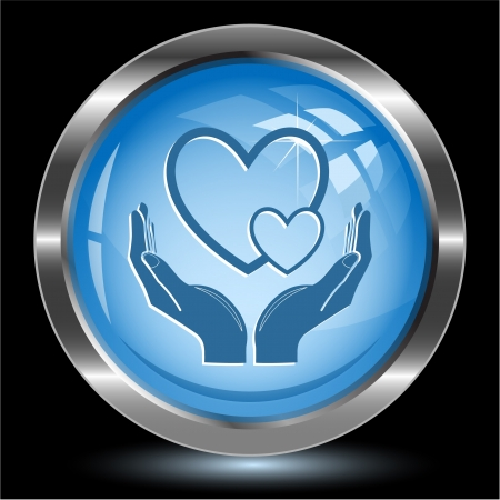 love in hands. Internet button. Vector illustration. Stock Illustration - 15724621
